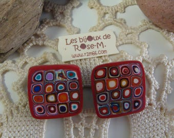 """Red clip on earrings """"Klimt"""" style"""