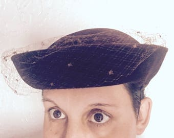 Vintage Leslie James - Made in France Brown Hat with Netting