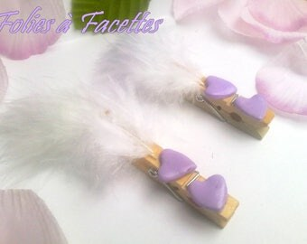10 marks places clip in wood and mauve hearts and feathers