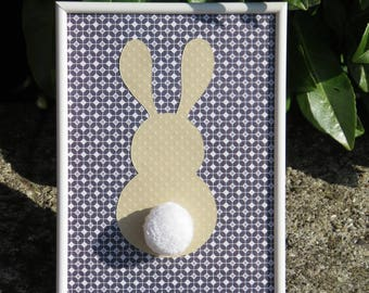 "Deco frame for child's room ""my little bunny"" colors: blue, beige, white and tassel"