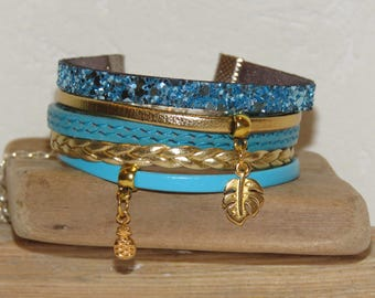 "Leather Cuff Bracelet turquoise blue and gold - leaf and ""tropical"" pineapple charms"