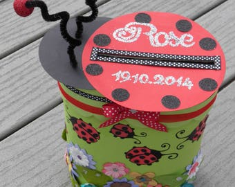 URN for baptism, ladybug, flowers, glitter, green, red, black, pink, customizable colors