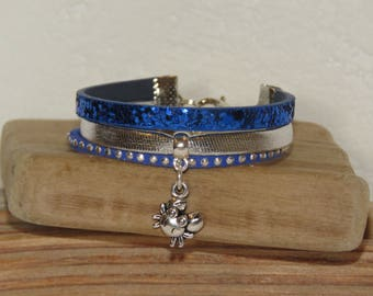 Bracelet for little girl charm crab funny, Royal Blue, silver, glitter, leather, suede studded, leather gift idea