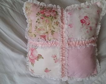 CHARMING PILLOW SHABBY CHIC PASTEL PATCHWORK