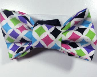 Bright Colored Diamond Patterned Bow Tie