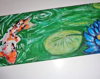 Koi Carp Lotus Flower Painting