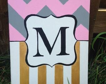 "9""x12"" Monogram canvas painting / Bedroom decoration / Wall decor / Monogram canvas / Acrylic monogram / Wall art"