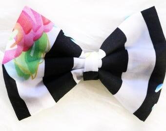 Black white stripes floral