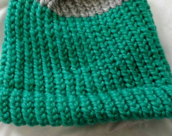 Turquoise and grey beanie