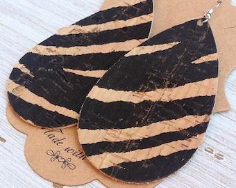 Teardrop Earrings, Cork, Cork leather, Zebra print, Statement Earrings, Boho
