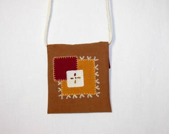Square two-tone and embroidery pattern shoulder bag