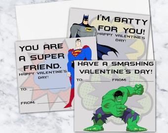 Superhero Instant Download Valentines, Set of 6, 8.5x11