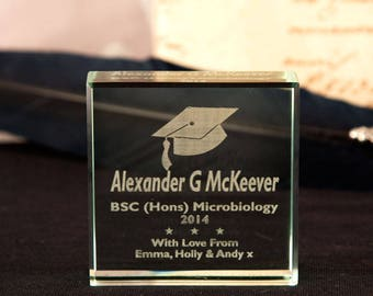 Personalised Graduation Jade Glass Block - Graduation Gifts, Gifts for Her, Gifts for Him, Celebration Gifts, Personalised Gifts