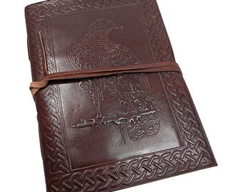 Leather bound Journal Blank Book - Embossed Raven vintage