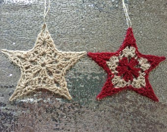 Gold and Red/Gold Crochet Star Christmas Decoration/Star Christmas Tree Decoration