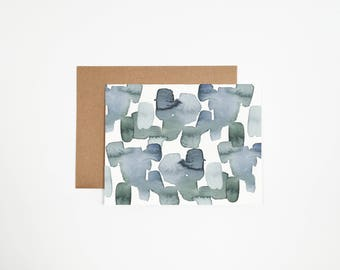 Abstract Blue Green Greeting Card - Can Be Customized With Writing