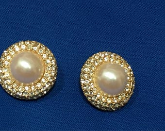 Kenneth Jay Lane Earrings Clip On Crystals Faux Pearl Christmas Birthstone Vintage Jewelry