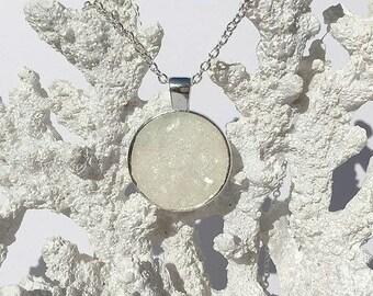 Druzy pendant necklace, opal druzy, druzy necklace, druzy pendant, druzy jewelry, geode, under 20 dollars, cabachon, druzy cabachon