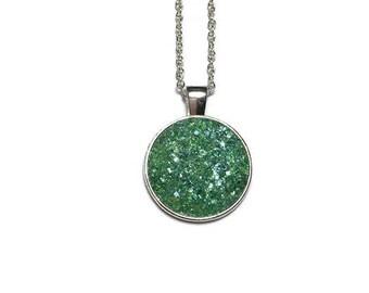 Druzy pendant necklace, aquamarine druzy, Druzy necklace, druzy jewelry, silver pendant, geode pendant, geode jewelry, under 20 dollars