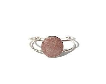 druzy bracelet, terra cotta druzy, drusy jewelry, under 20 dollars, geode jewelry, cuff bracelet, crystal bracelet, pink druzy bracelet