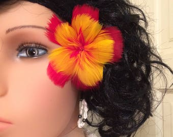 Original Red & Yellow Hibiscus Feather Flower Ear Pick,Hair Jewel,Wedding Jewels,For Her,Hawaiian Wear,Aloha Wear,Hula Dancer,Local Girl
