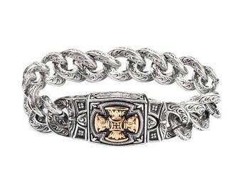 Men's 24mm Florenzada Cross Bracelet Stainless Steel Religious Jewelry