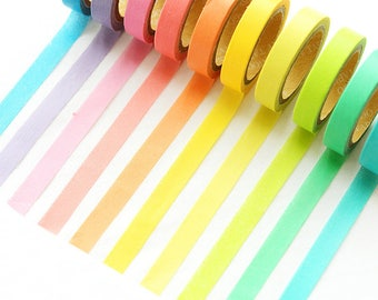 Set of 10 rainbow washi tape. Masking tape, Stationary, planner