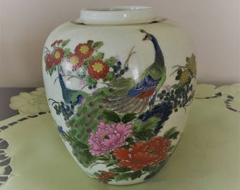 Oriental Ginger Jar with Double Peacocks, Ginger Jar with Blue and Green Peacocks, Oriental Vase with Flowers and Peacocks, Crackle Vase