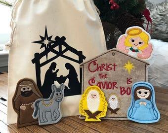 Manger Scene Felt Finger Puppet Set - 5 Puppets & case - Birthday, Christmas, Shower gift