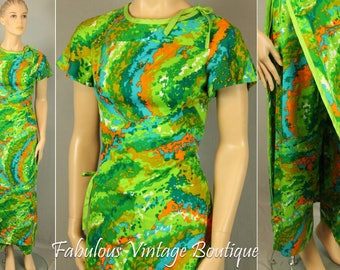 RARE V intage 60s KAMEHAMEHA Hawaii Bright 2pc Set Maxi Long Caftan Dress w Pants S