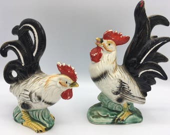 Vintage Ceramic Hen and Rooster