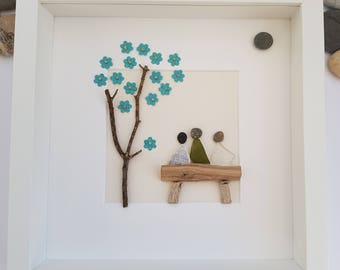 Mothers Day, Pebble Art, pebble picture, sea glass art, family, friends, Christmas, anniversary, home decor, unique gift, birthday,