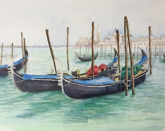 Gondolas in Venice,  holiday souvenir, original painting, watercolour landscape. Can be customised from your own holiday photograph.