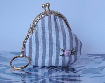 Vintage-style purse, CLAC Click Purse, Coin Purses snap closure, key ring with coin purse, hand-embroidered purse,