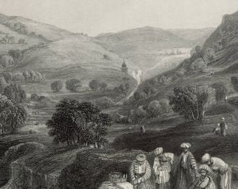 Valley of Jehosophat, & Brook Kedron, Palestine 1841 - Old Antique Vintage Engraving Art Print - Valley, Picnic, River, Castle, Sightseeing