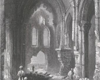 Syria 1839, Christian Church at Tortosa, Old Antique Vintage Engraving Art Print, Interior, Vault, Column, Corinthian, Head, Ruin, Arch