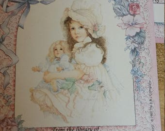 Vintage Antioch Book Plates - Little Girl Holding Doll - Set of 3 Bookplates