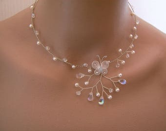 Ivory/white/Crystal/silver necklace, p dress bridal/wedding/evening/cocktail/ceremony Butterfly/pearls (cheap cheap)