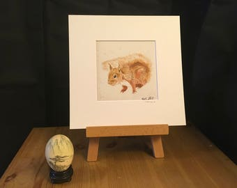 SQUIRREL art, artwork, red squirrel, wildlife, animal, 232mm x 232mm, mammal, nature, perfect gift, home decor, eco friendly art, her