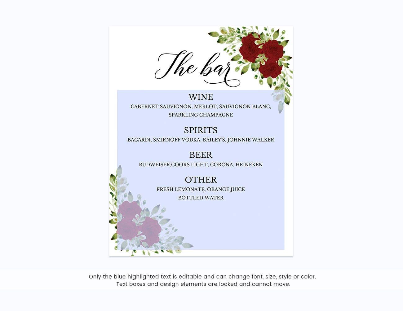 Bar Sign WeddingBar TemplateBar PrintableThe