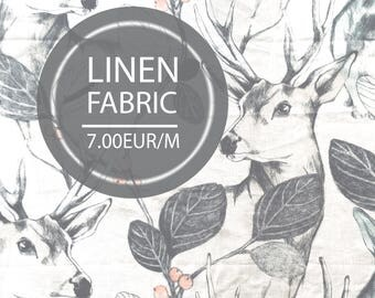 Linen fabric, Flax fabric, Deers, Forest, Linen curtains, Linen bedding, Crib bedding, Tablecloth