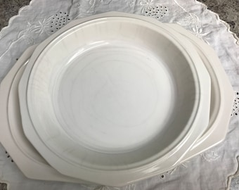 Vintage white Pfaltzgraff platter and serving bowl.
