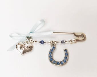 Bridal Brooch, Pin, Lucky Charm, Wedding Gift, Bride to be accessories, Bride Charm, Personal Message, Gift box