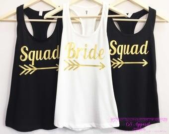 Bride Arrow -Sqaud Arrow- Bachelorette Party-Bridal Party Tanks Gold