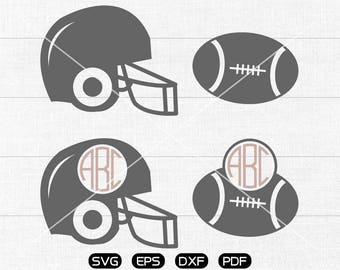 Football Svg, Rugby helmet Clipart, Monogram Frame cricut, cameo, silhouette cut files commercial & personal use
