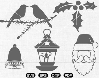 Santa Claus Clipart , Bird,  Christmas Bell, Christmas Light Svg, cricut, cameo, silhouette cut files commercial & personal use