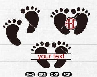 Baby Feet Svg, Baby Feet Clipart, Monogram Frame cricut, cameo, silhouette cut files commercial & personal use
