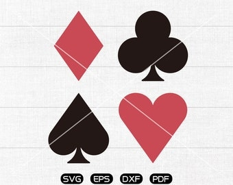 Card Suits SVG, Heart svg, Diamond svg, Spade svg, Club Clipart, cricut, silhouette cut files commercial use