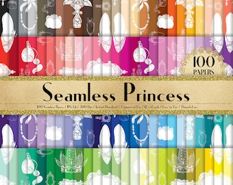 "100 Seamless Princess Papers 12"", Planner Paper, Commercial, Rainbow Paper, 100 Digital Paper, Fashion Paper, Princess Paper, Vintage"