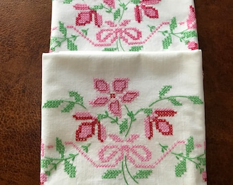 Vintage Cottage Floral Pillowcases in Pinks and Reds New